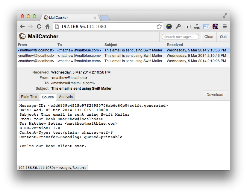 MailCatcher UI Showing Raw Mail Content