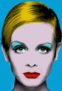 Artwork: A fashionable blonde woman rendered in saturated flat color.