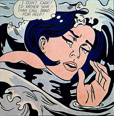 "Painting: A drowning girl sobs in swirling waves thinking 'I don't care. I'd rather sink than call Brad for help""."