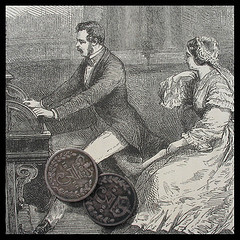 Etching: A young Queen Victoria and Prince Albert