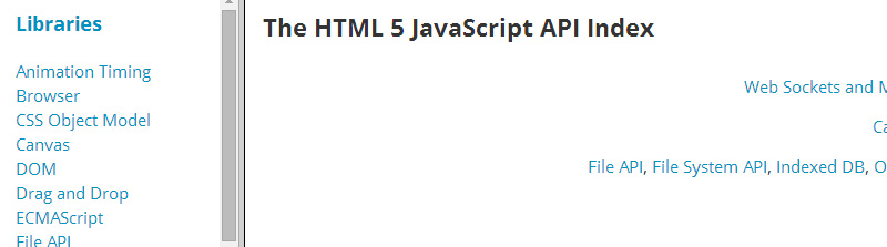 The HTML5 JavaScript API Index