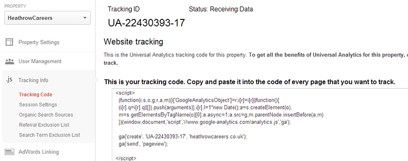 Universal Analytics tracking code