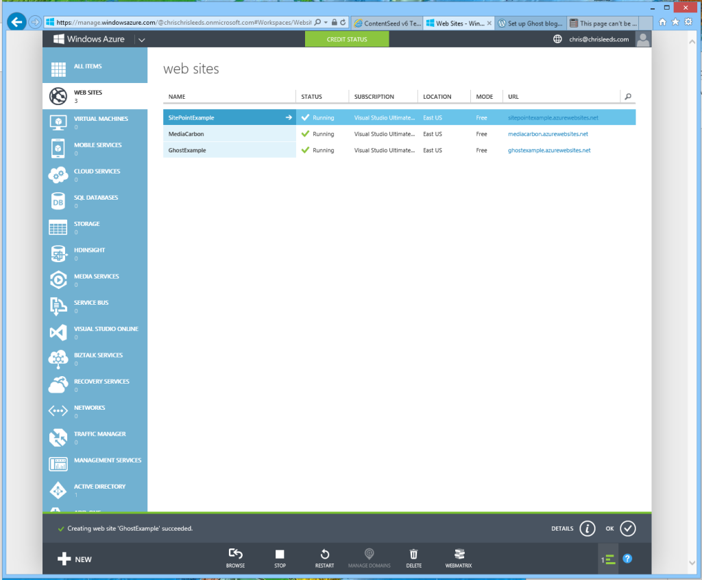 The Azure management page