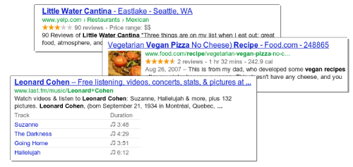 Rich Snippets in search