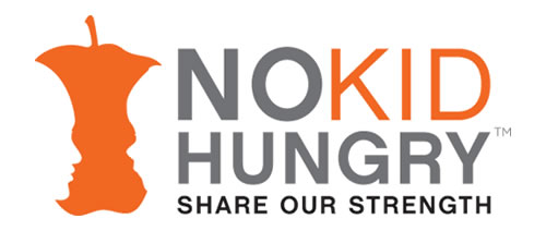 No Kid Hungry Logo: Negative space shown as the profile of two faces making up the edges of an apple core