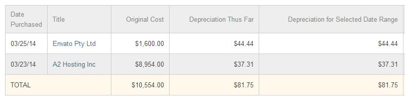 Less Depreciation Report