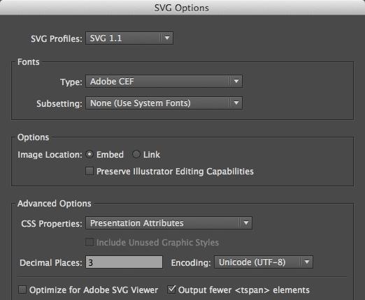 Illustrator export options panel