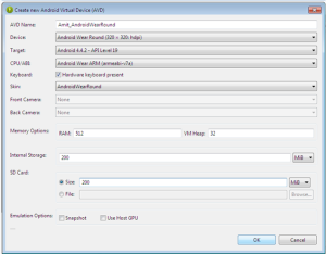 Creating new Android Virtual Device (AVD)