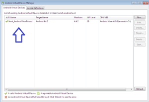 Amit_AndroidWearRound AVD created successfully