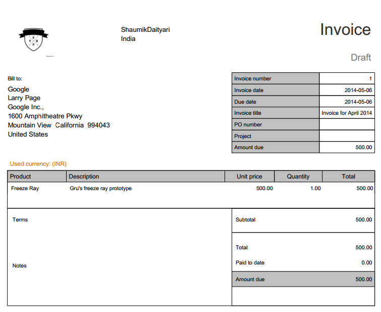 Nutcache: The Generated Invoice.  Creating An Invoice