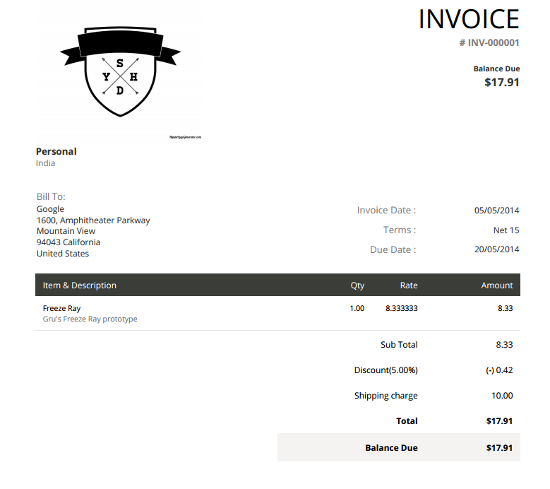 5 tools for creating simple, attractive invoices — sitepoint, Invoice examples