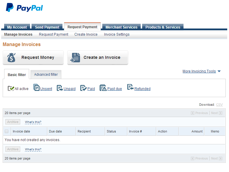 PayPal Dashboard  Create Invoices