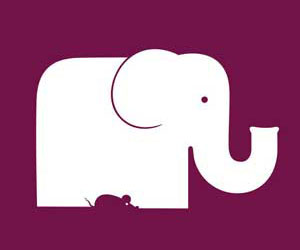 Elephant logo with mouse in negative space