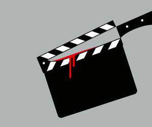 Director's clapper board with knife created with negative space