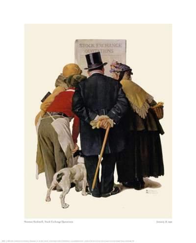 "Norman Rockwell ""Four People Reading Stock Exchange"""