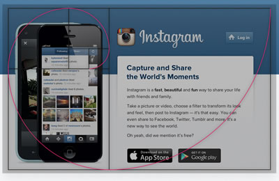 Instagram site overlayed with the golden section.