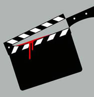 clapper-board with knife in negative space