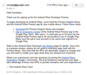 Email with the Android wear download link