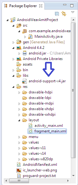 jar file android-support-v4.jar added