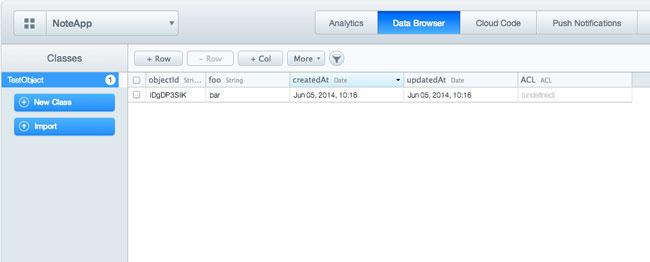 App details in Parse dashboard