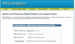 JPEG-Optimizer is a free online tool for resizing and compressing your digital photos and images