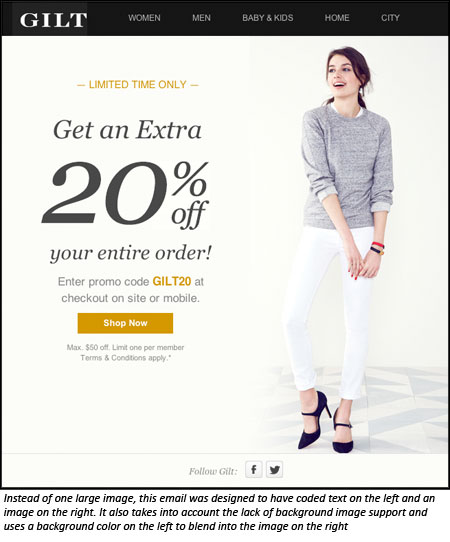 Email with good use of text and images