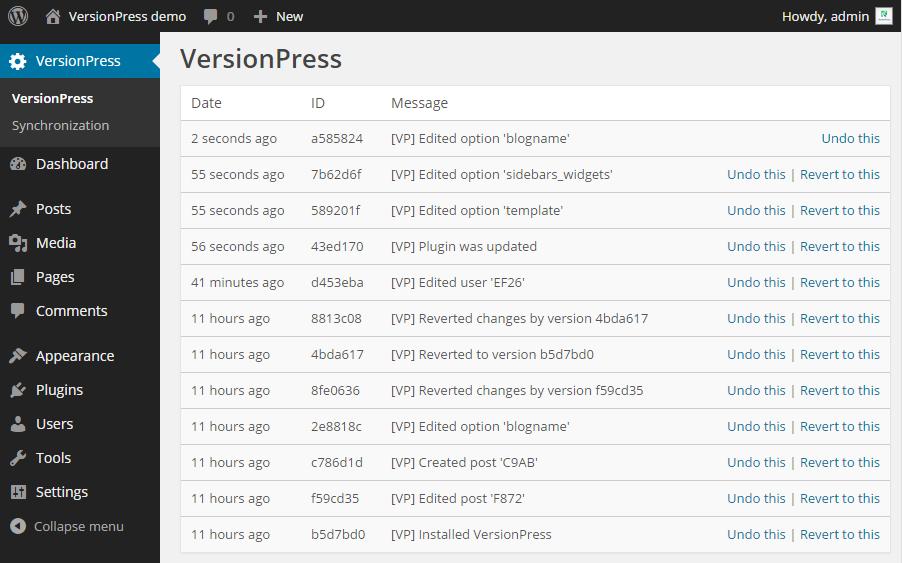 VersionPress Change History