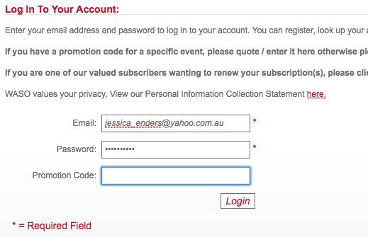 Western Australia Symphony Orchestra login screen