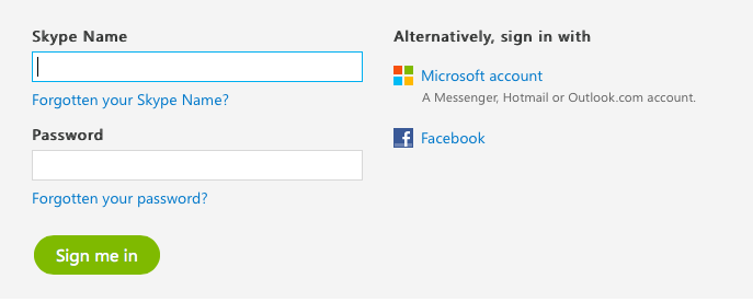 Skype's login screen