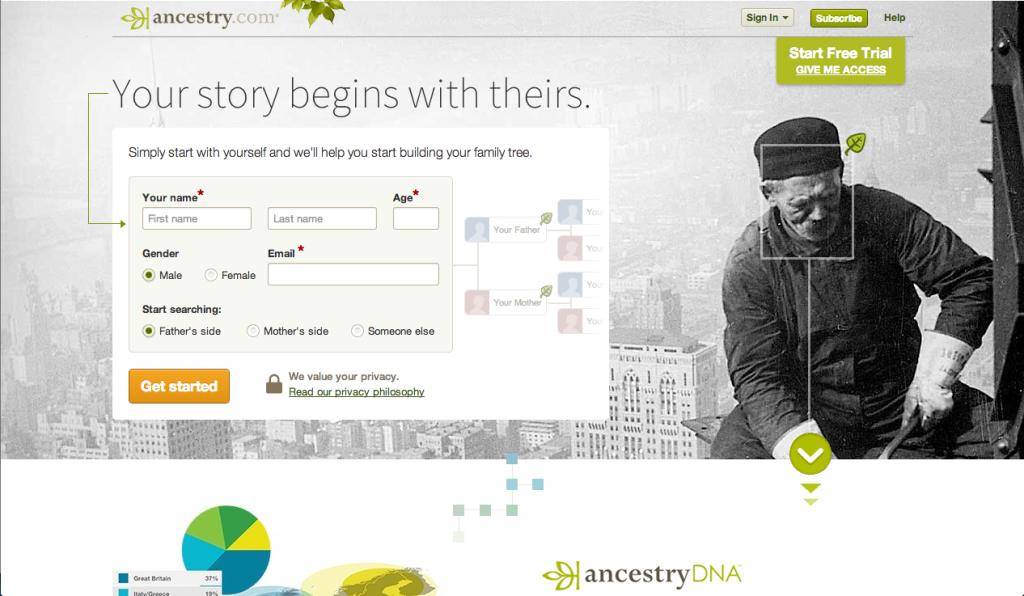 Ancestory website screenshot
