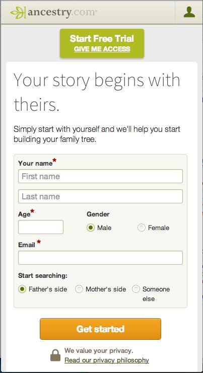 Ancestory mobile website screenshot