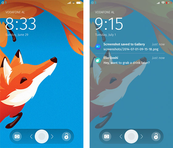 Firefox OS 2.0 Lock Screens