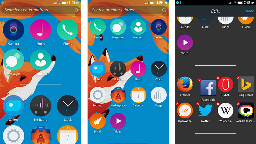 Firefox OS 2.0 Icon arrangement