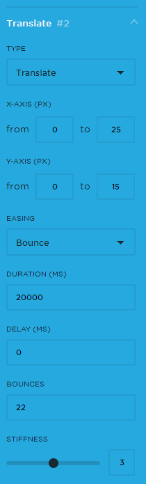 Animation Component 2 settings