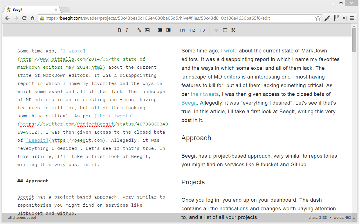 A First Look at Beegit: The Collaborative Online Markdown