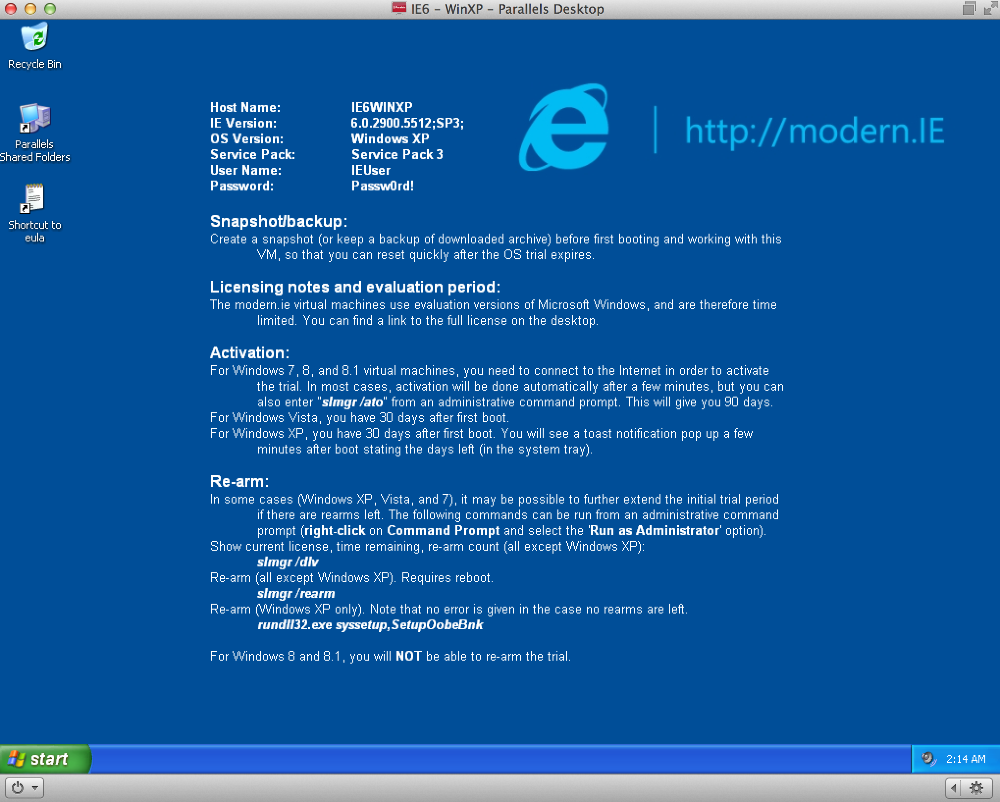 Windows XP and IE6