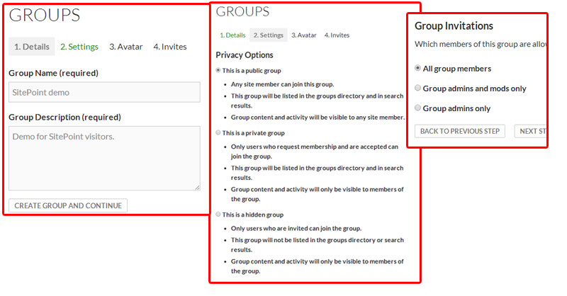 BuddyPress Group Settings