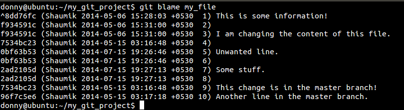 blame contents of a file