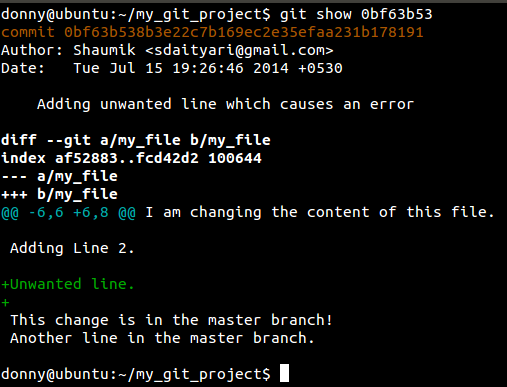 running git show on the bad commit