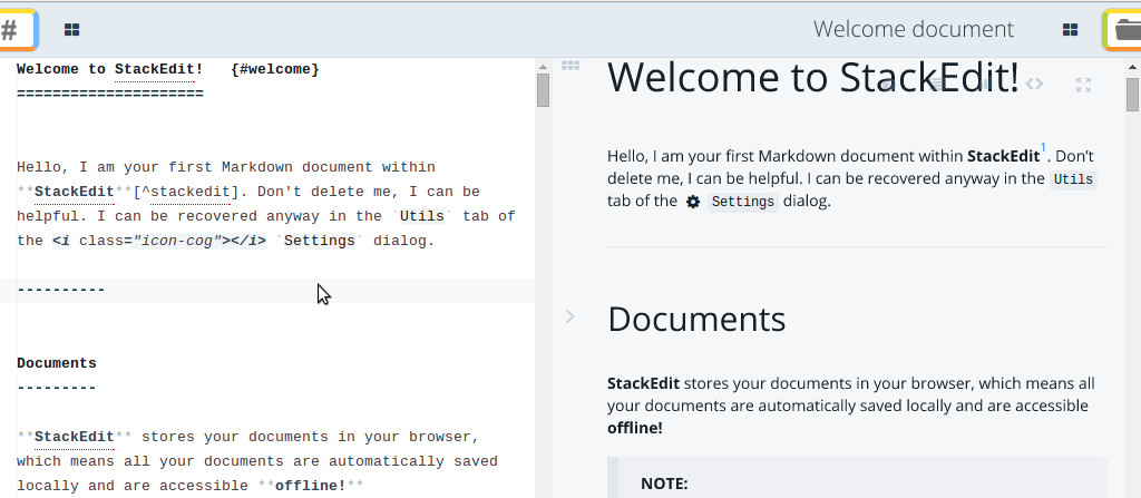 Markdown editing on StackEdit