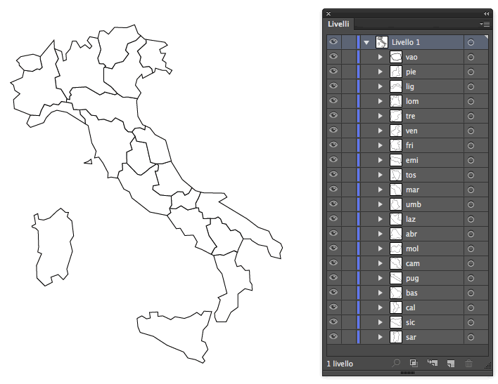 Illustrator Map of Italy