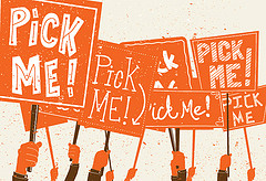 Illustration: A sea of 'Pick me!' signs