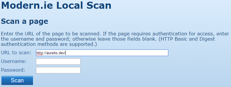 Beginning a site scan