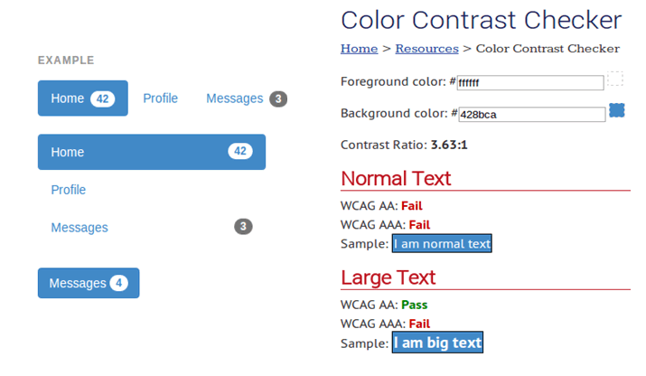 results of bootstrap blue color contrast test