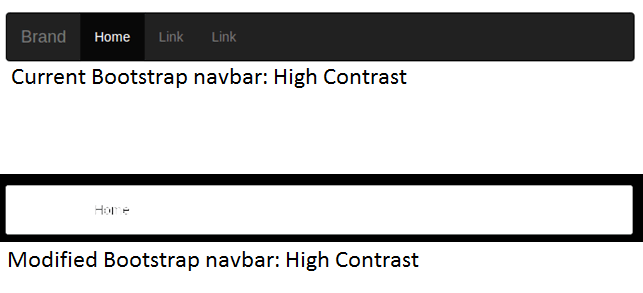 comparison of bootstrap navbar before and after