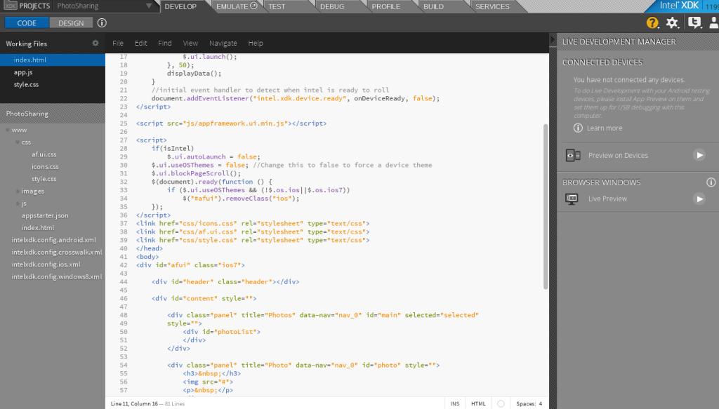 Intel XDK Develop Tab