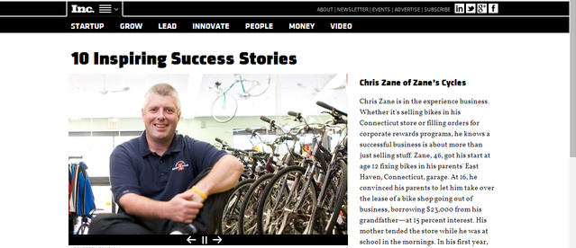 Inc; Story on Chris Zane cycles
