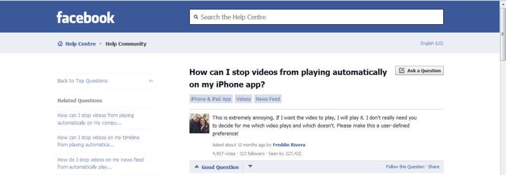 The image represents the screenshot of Facebook Help Centre
