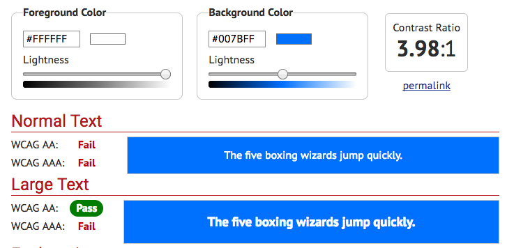 Bootstrap blue contrast 3.98:1 fail  - 1517964585Bootstrap v4 blue contrast - 8 Tips for Improving Bootstrap Accessibility — SitePoint
