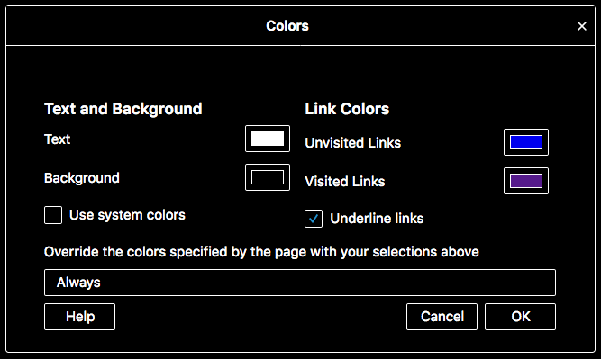Firefox color preferences